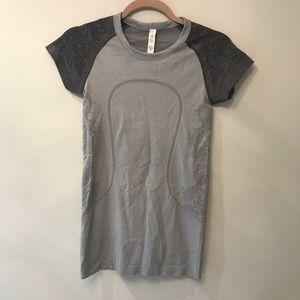 EUC Lululemon Swiftly Tech  Gray Short Sleeve Sz 4